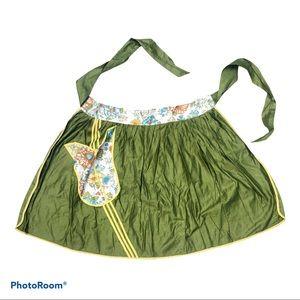 Deadstock vintage tulip green half apron 70's